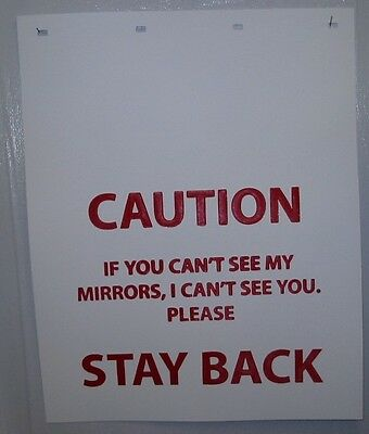 """WHITE POLY 24""""x30"""" """"CAUTION STAY BACK"""" MUD FLAP - PAIR"""