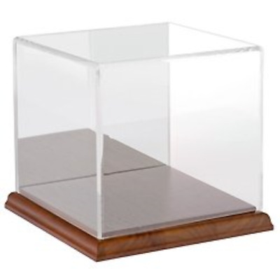 OpenBox Plymor Brand Clear Acrylic Display Case with Hardwood Base Mirror Back
