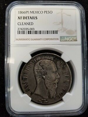 1866 Pi Mexico Peso Maximilian Ngc Xf Details Great Looking Scarce Coin!!!