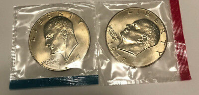 1977 P D Eisenhower Dollars BU in US Mint Cello - 2 Coin Uncirculated Set