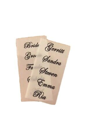 Personalised clear wedding name labels stickers for place cards wedding favours