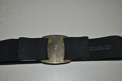 Salvatore Ferragamo Womens Fabric Leather Wide Belt With Large Bow Black Gold