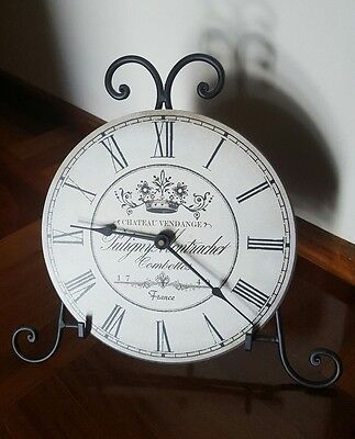 Vintage French Country style clock & wrought iron stand *New*