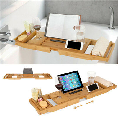 Bamboo Bathtub Tray Extendable Bath Tub Rack Table Adjustable Caddy Tray Holder