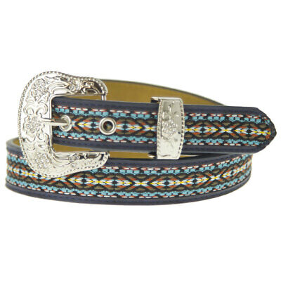 New Blue Aztec Style Belt - Ladies and Girls Sizes - 322 Ladies Western Bling Be