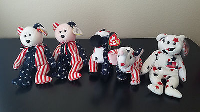 Lot of 5 TY Beanie Babies Bears Patriotic American Righty Lefty Spangle Glory
