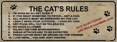 THE CAT'S RULES Flat Non-Embossed Novelty Number Plate