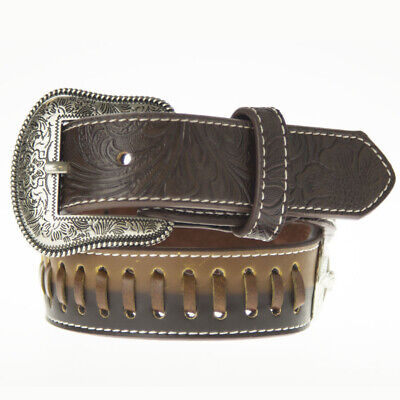 New Belt - Western - Faux Leather - Dark Brown  w/ Longhorn/Star Conchos - [Code