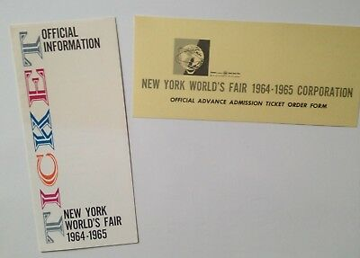 1964-65 NY World's Fair Ticket Brochure and Advance Admission Ticket Order Form