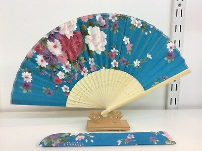 Japanese Silk Hand Fan-Floral Design with Silk Fan Holder - T03-T04