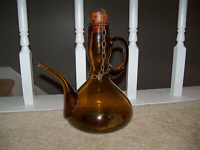 LARGE VINTAGE DARK BLOWN AMBER GLASS HANDLED BOTTLE WITH SPOUT Decanter Cork