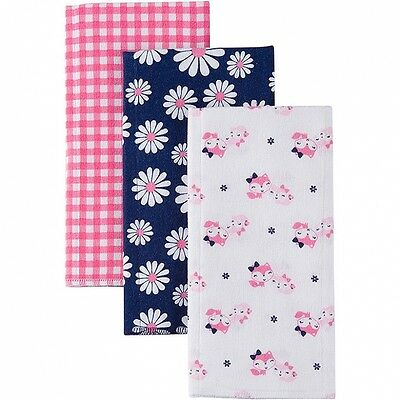 Gerber Baby Girls 3 Pack Flannel Burp Cloths NEW Adorable Daisy Fox