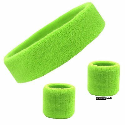 Sweatband Set Cotton Sports Headband Terry Cloth Wristband Moisture Wicking Head