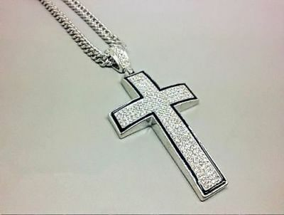 Hip Hop Mens Iced Out Cross Pendant Cuban Curb Link Chain Necklace #NE33
