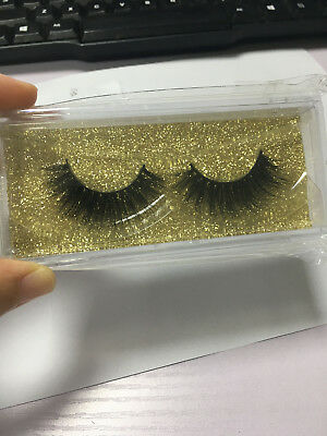 Pop 3D 100% Mink Soft Long Natural Thick Makeup Eye Lashes False Eyelashes Black