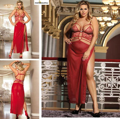 PLUS SIZE DESSOUS | 2pcs Belle Decolette Love Sexy Gown | XS-4L R80205P