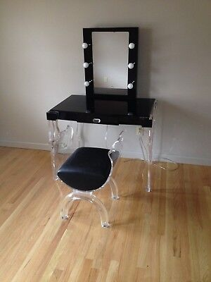 Modern Lighted Lucite Acrylic (Black) Vanity Make-up Table + Bench Stool