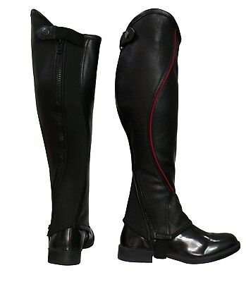 "Riders Trend Kid's Super Grip Grain Gaiter Leather Half Chaps CM 13"" Medium New"