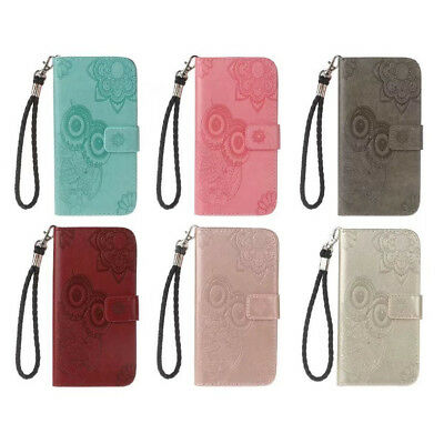 Owl Embossed Leather Wallet Flip Case Cover For iphone Samsung Huawei Sony KU