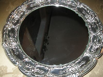 Small Silver Plated Mirror Tray 10 1/2 Ins