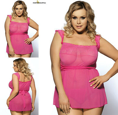 PLUS SIZE DESSOUS | Mini Babydoll Dress With Narrow Sleeve | M-5XL R7001P
