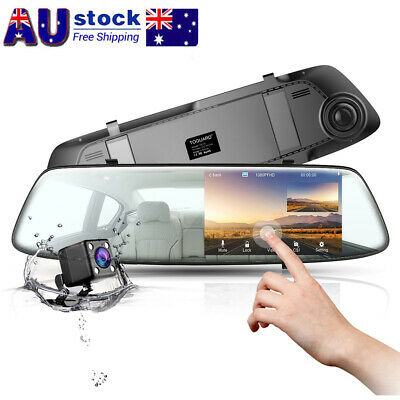 TOGUARD 4.3 Mirror Dashcam 1080P Touch Dual Lens Front+Rear Car Rear View Camera