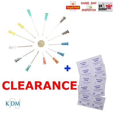 Clearance 50 80 100 150 200 Kdm Needles +Swabs 70% Alcotip 10 Sizes Blue Cycle
