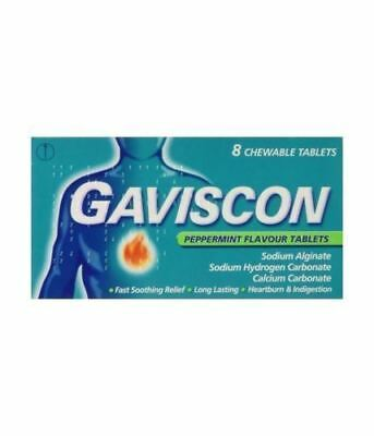1x GAVISCON CHEWABLE TABLETS 8 PACK PEPPERMINT FLAVOUR HEARTBURN INDIGESTION