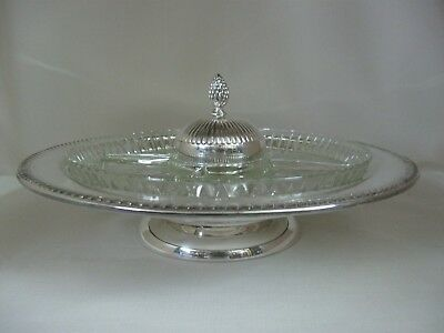 Silver Plate With 1 pcs Glass Insert 4 Divisions & Dip Bowl Rotating Lazy Susan