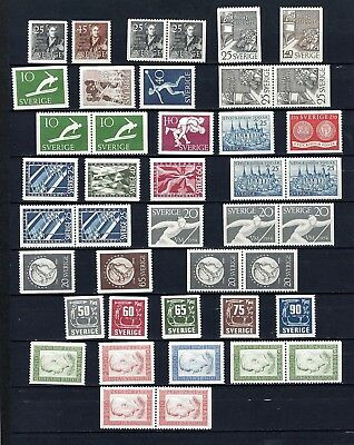 Sweden Years 1951-1954 MNH With Pairs  Scott $57.50  Facit $ 75
