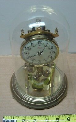 Vintage Kundo Germany Anniversary Clock w/glass dome not working mantel mantle