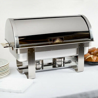 Roll Top Deluxe Full Size Silver 8 Qt. Stainless Steel Catering Chafing Dish NEW