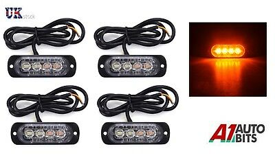 4 12/24v 4 LED Orange Amber Light Lamps Recovery Flashing Breakdown Strobe Grill