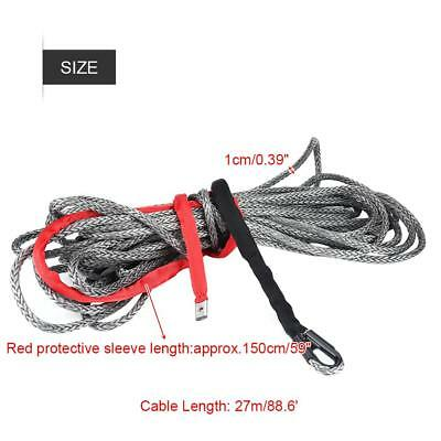 90FT 10MM Synthetic Winch Rope Line w/ Protective Sleeve  up 20500lbs ATV Truck