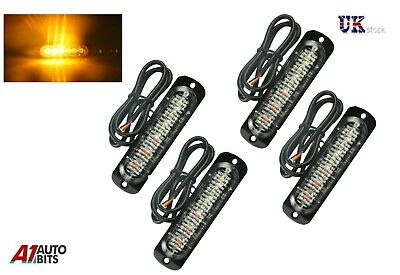 4x Amber 6 LED Car Truck Emergency Beacon Lights Hazard Flash Strobe Bar Warning