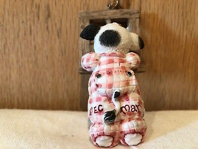 Mary's Moo Moos Baby/Child Cow standing on toes looking out window Ornament