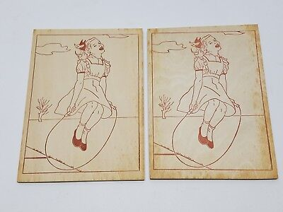 2 Vintage Wood Burning Pyrography Plate Folk Art Jump Rope Roping Girl 1940s Lot