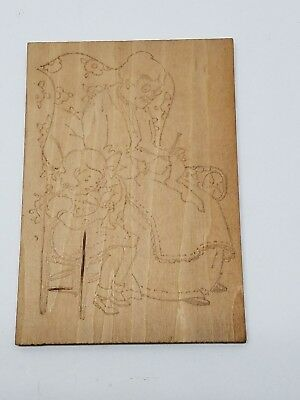 Antique Flemish Art Wood Burning Pyrography Plate Folk Art Grandma Girl Sewing