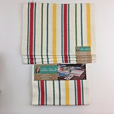 Pioneer Woman 14 x 72 Table Runner 4 Placemats 14 x 19 Vintage Stripe