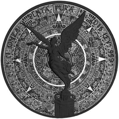 2016 1oz .999 Mexican Silver Libertad Aztec Calendar Ruthenium Color Coin