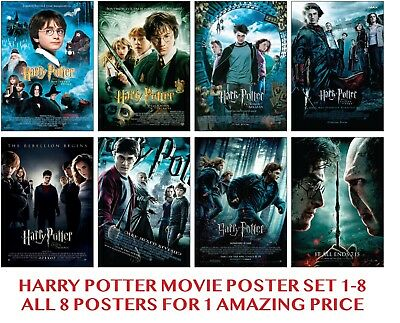 Harry Potter Movies 1 - 8 Large Poster Art Print Set of 8