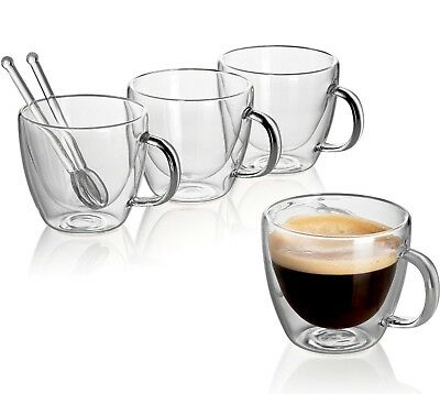double wall espresso cups black glass clear glass set double wall coffee mug espresso cup 54 oz spoons clear glass set