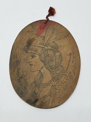 Antique Flemish Art Wood Burning Pyrography Plate Folk Art Victorian Lady Girl