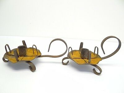 Antique Old Metal Wrought Iron Tin Handle Hand Lanterns Candle Holders Sconces