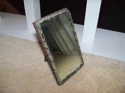 Antique Art Nouveau Metal Mirror / Frame FLOWERS Vanity Table Mirror Small