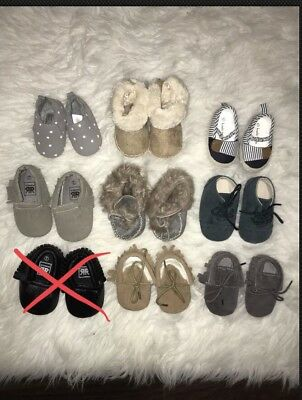 Lot Of 8 Pairs Of Baby Boy Girl Shoes Moccasins Oxfords Boots Slippers Assorted