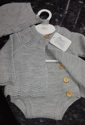 Spanish Style Baby Grey Knitted Cardigan, Jam Pants and Bonnet Set 3 piece