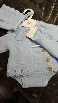Spanish Style Baby Boy Blue Knitted Cardigan, Jam Pants and Bonnet Set 3 piece
