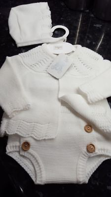 Spanish Style Baby White Knitted Cardigan, Jam Pants and Bonnet Set 3 piece