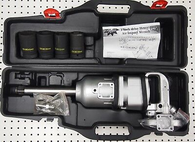 "1"" Drive Air Impact Wrench Gun 2450FT-LBS Long Shank w/4 Sockets"